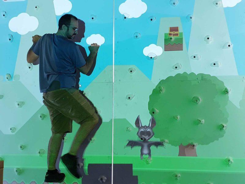 animation mur d'escalade en réalité augmentée